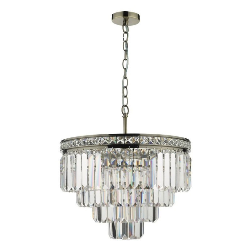 Dar-VYA0475 - Vyana - Crystal & Antique Brass 4 Light Chandelier