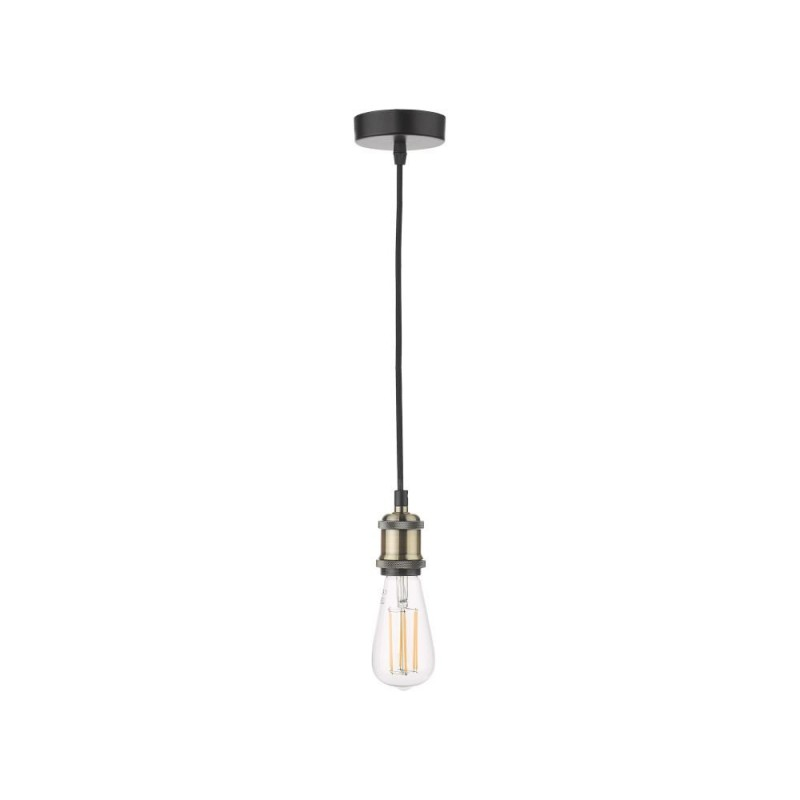 Dar-WAC0175 - Waco - Antique Brass & Black Single Pendant