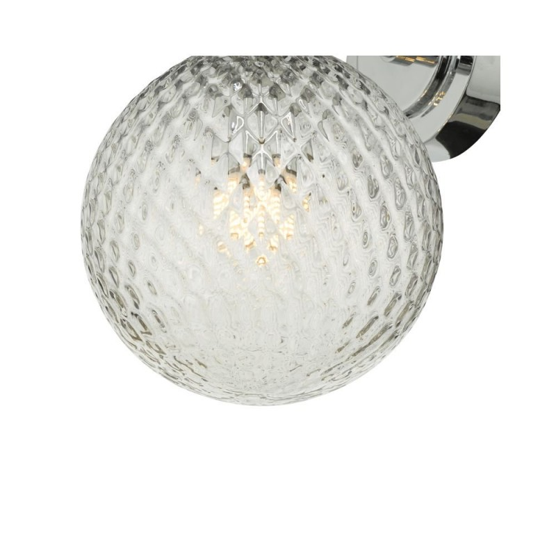 Dar-WAY0750 - Wayne - Textured Glass & Polished Chrome Wall Lamp