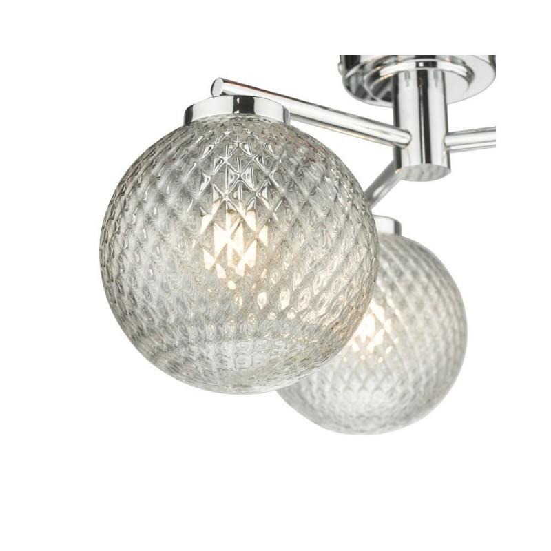 Dar-WAY5350 - Wayne - Textured Glass & Polished Chrome 3 Light Semi Flush
