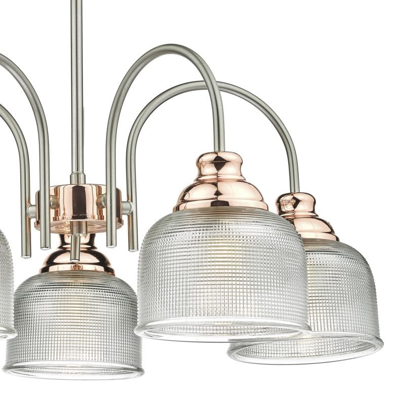 Dar-WHA0546 - Wharfdale - Satin Chrome and Copper with Glass 5 Light Centre Fitting