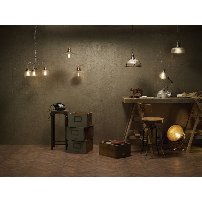 Dar-WHA0746 - Wharfdale - Satin Chrome and Copper with Glass Single Wall Lamp