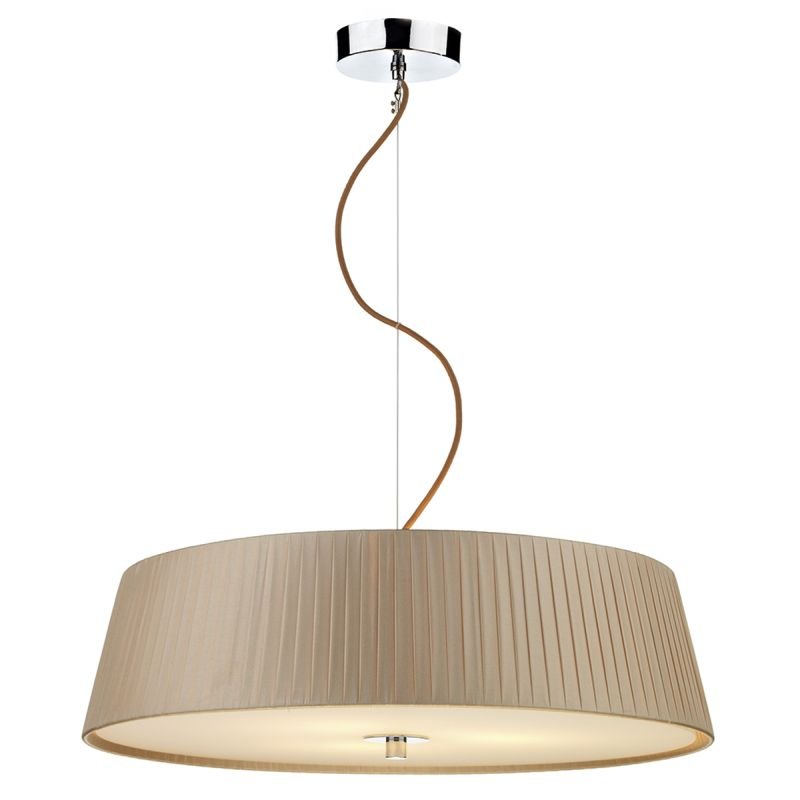 Dar-WHE0329 - Wheel - Taupe Ribbon Fabric with Diffuser 3 Light Hanging Pendant