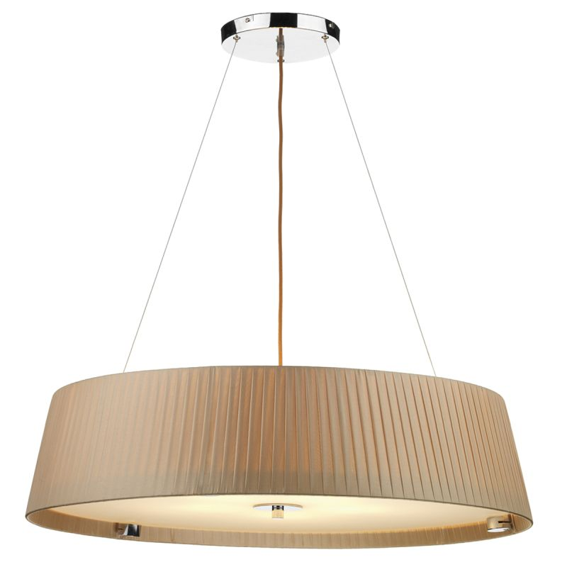 Dar-WHE0529 - Wheel - Taupe Ribbon Fabric with Diffuser 5 Light Hanging Pendant
