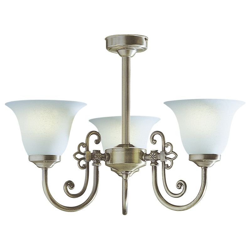 Dar-WOO0385 - Woodstock - Glass with Antique Brass 3 Light Centre Fitting