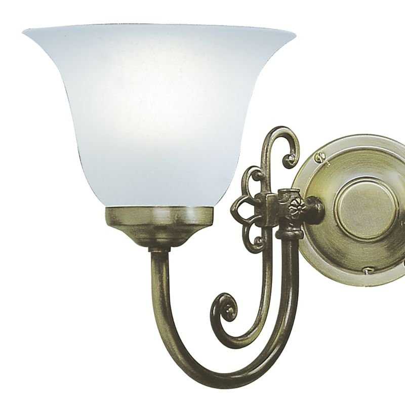 Dar-WOO0985 - Woodstock - Glass with Antique Brass Double Wall Lamp