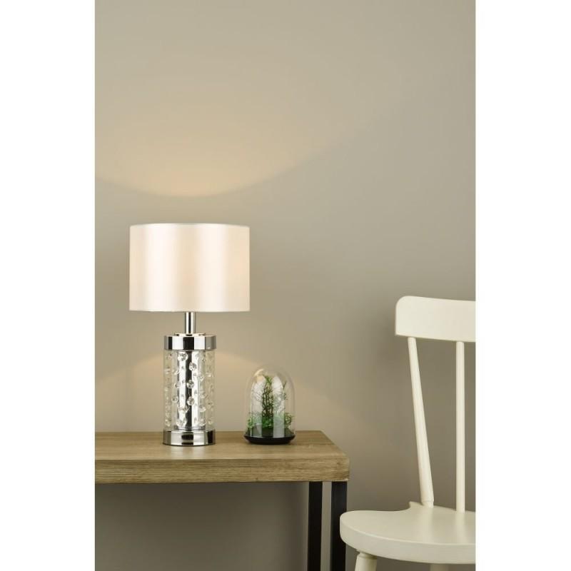 Dar-YAL412 - Yalena - Ivory Shade with Glass & Crystal Table Lamp