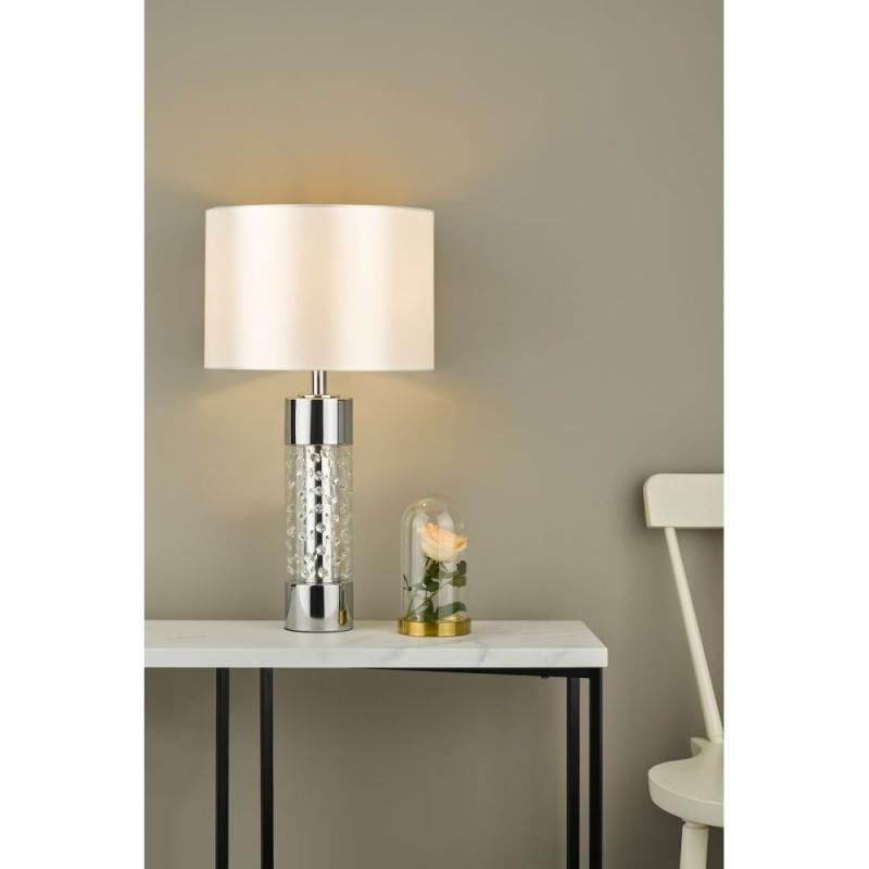 Dar-YAL422 - Yalena - Ivory Shade with Glass & Crystal Table Lamp