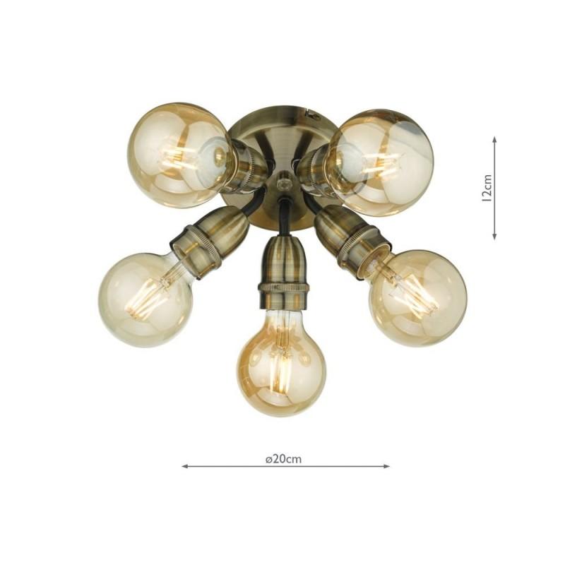 Wisebuys-YAO0575 - Yao - Antique Brass 5 Light Flush