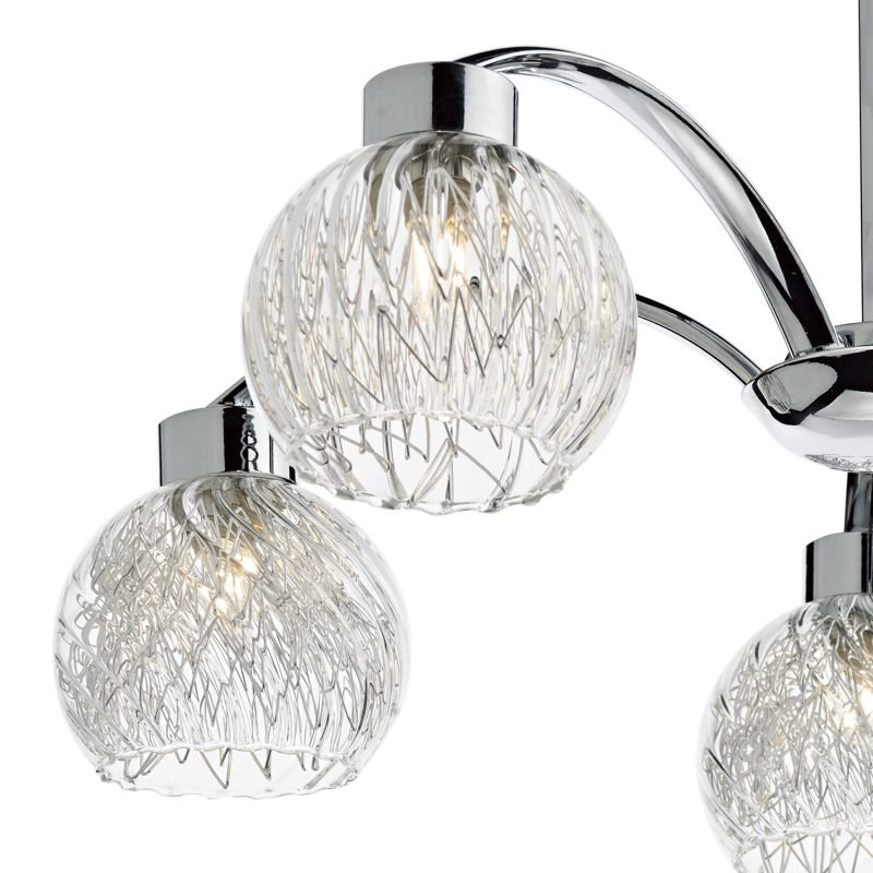 Dar-YAS0550 - Yasmin - Ribbed glass with Polished Chrome 5 Light Centre Fitting