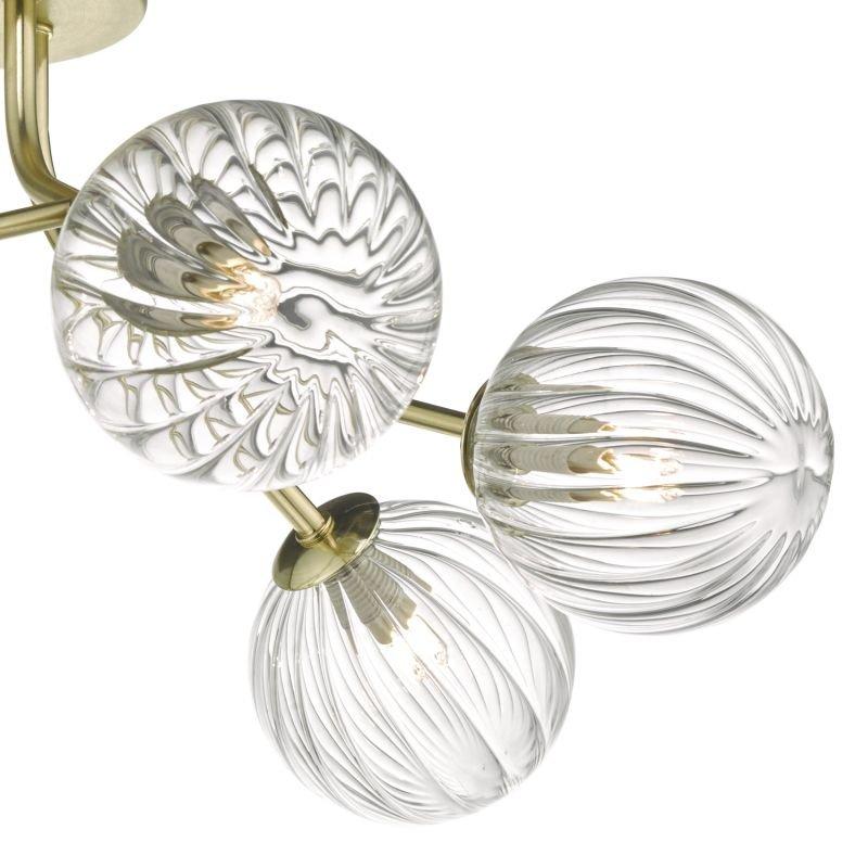 Dar-YIS6435 - Yiska - Ribbed Globe Glass & Gold Ceiling Lamp