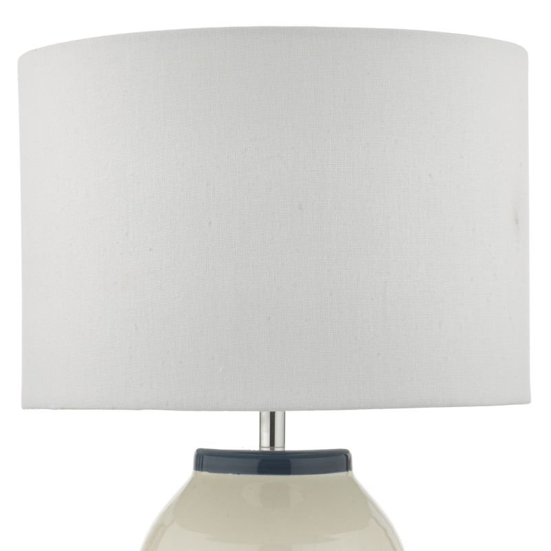 Dar-ZAB4223 - Zabe - Ivory Shade with White and Blue Ceramic Table Lamp