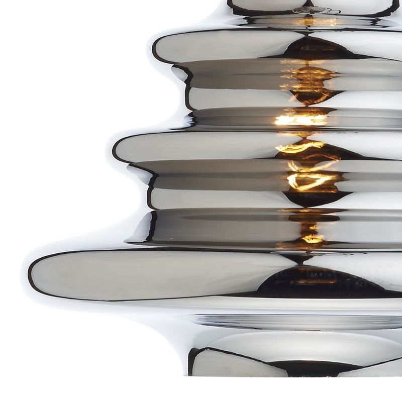Dar-ZEP6550 - Zephyr - Silver Ripple Glass Shade for Hanging Pendant