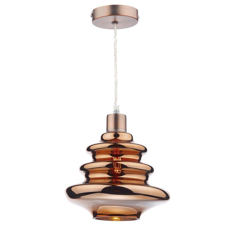 Dar-ZEP6564 - Zephyr - Copper Ripple Glass Shade for Hanging Pendant