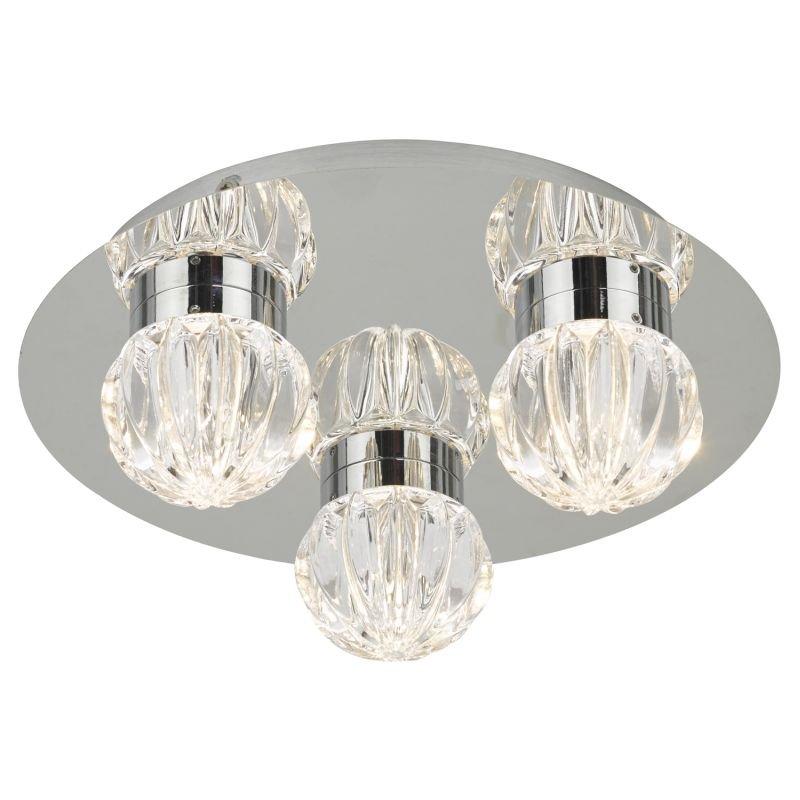 Dar-ZON5350 - Zondra - Bathroom LED Glass & Polished Chrome 3 Light Flush