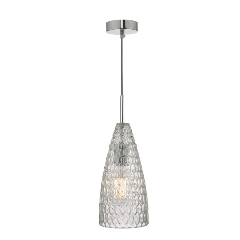 Dar-ZUK0108 - Zuka - Textured Glass & Chrome Single Pendant