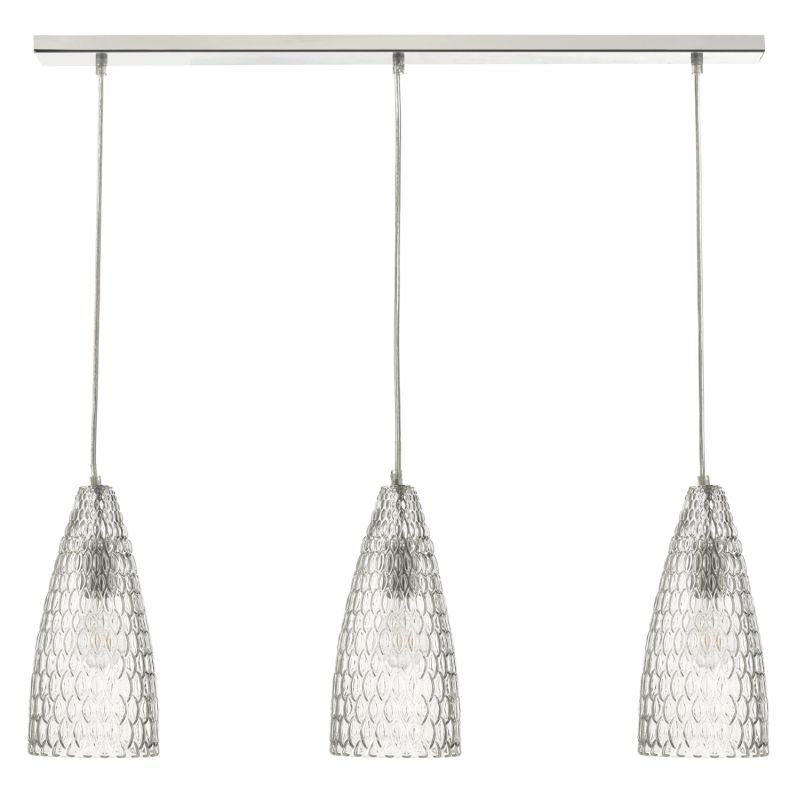 Dar-ZUK0308 - Zuka -Textured Glass & Chrome 3 Light over Island Fitting