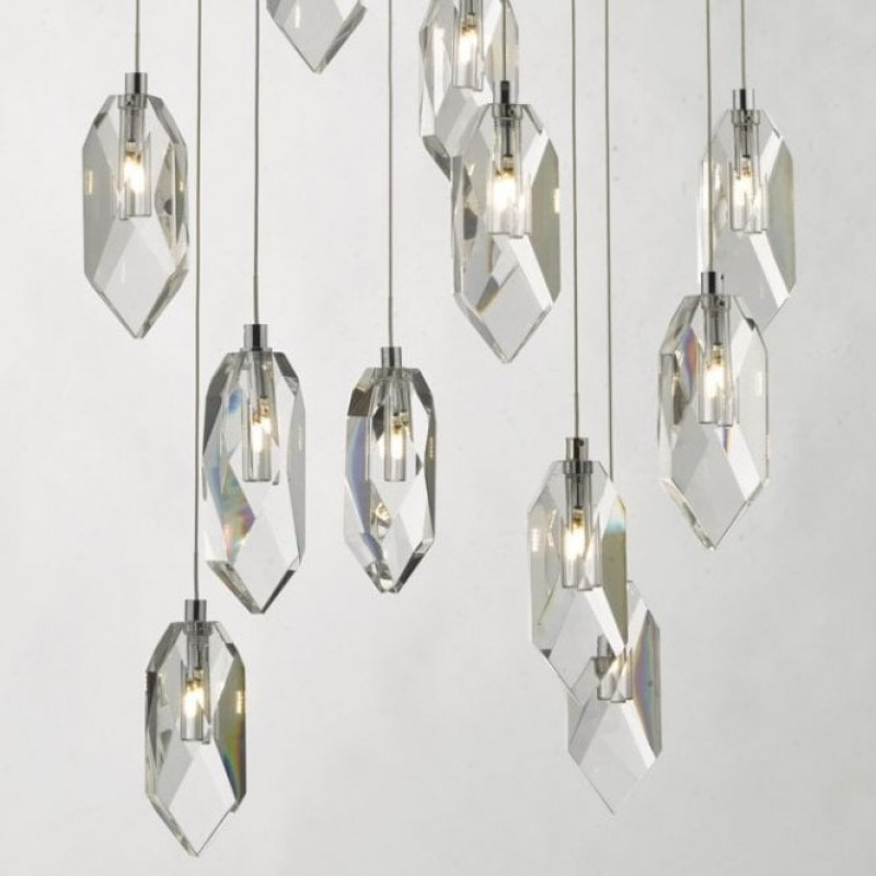 Dar-CRY1250 - Crystal - Chrome with Crystal Drops 12 Light Cluster Pendant