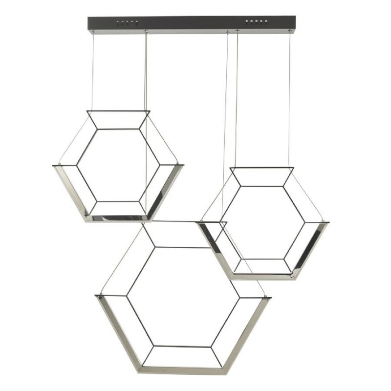 Dar-HEX0322 - Hexagon - LED Black Hexagon 3 Light Bar Cluster Pendant