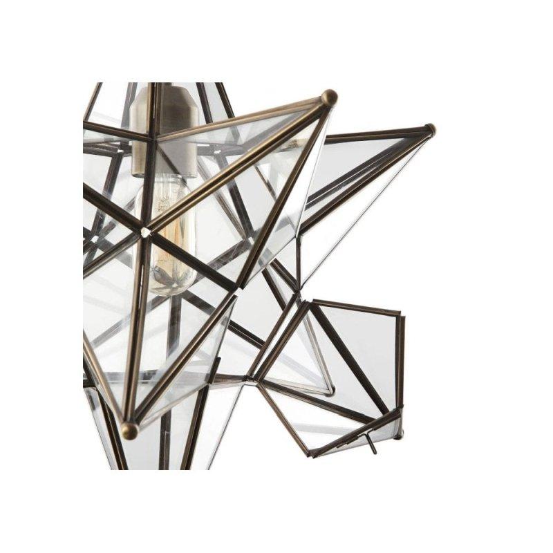 Dar-ILA8675 - Ilario - Big Star Antique Brass with Glass Hanging Pendant