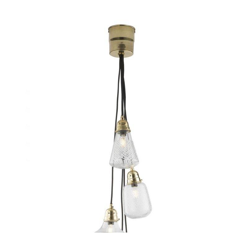Dar-LAS0540 - Lashira - Decorative Glass with Polished Brass 5 Light Cluster Pendant