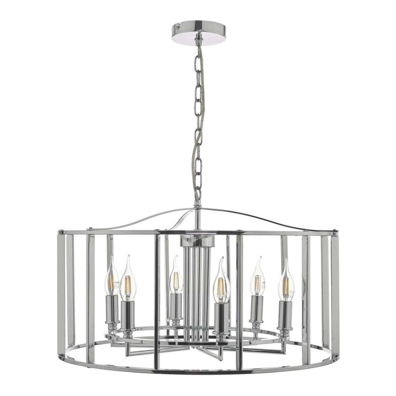 Dar-MYK0650 - Myka - Polished Chrome 6 Light Lantern Pendant