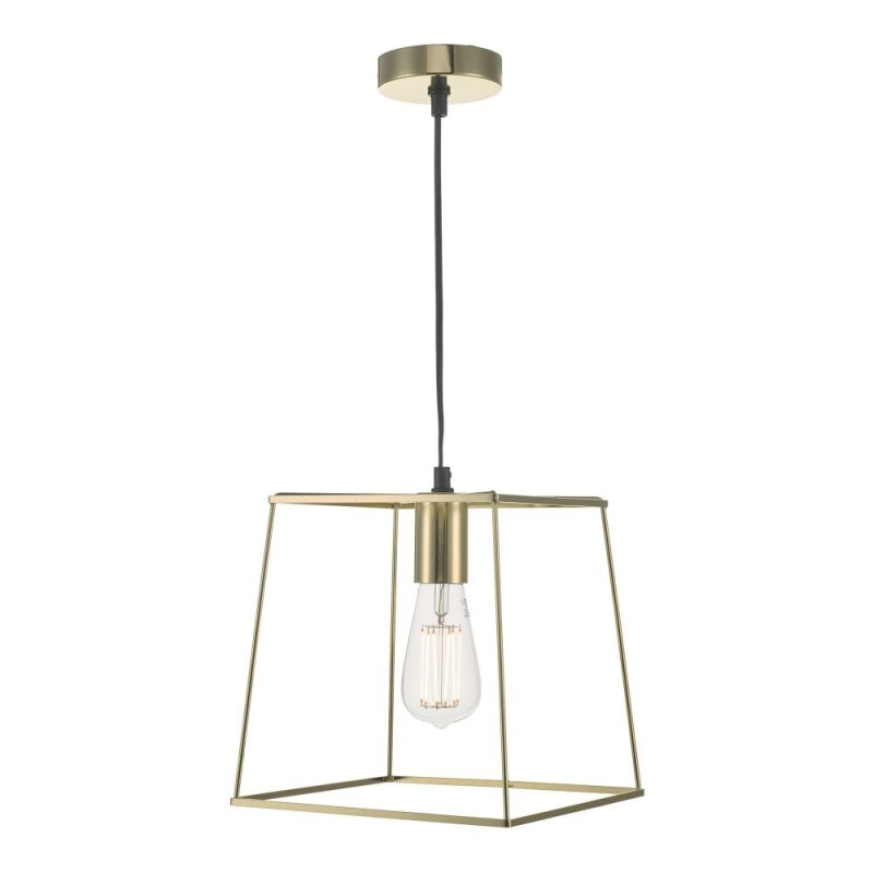 Dar-TOW0135 - Tower - Polished Gold Single Cage Pendant