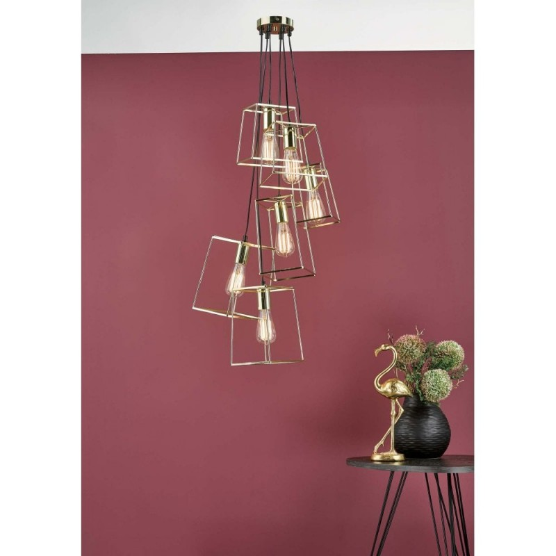 Dar-TOW0635 - Tower - Polished Gold 6 Light Cluster Pendant