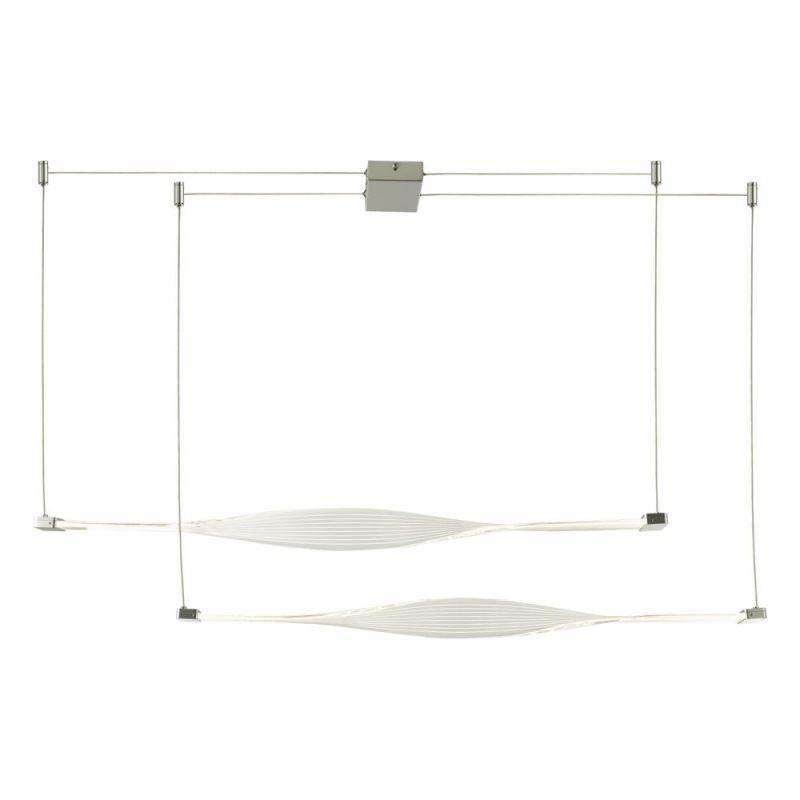 Dar-TWI6232 - Twist - LED Twist Acrylic & Silver 2 Light over Island Fitting
