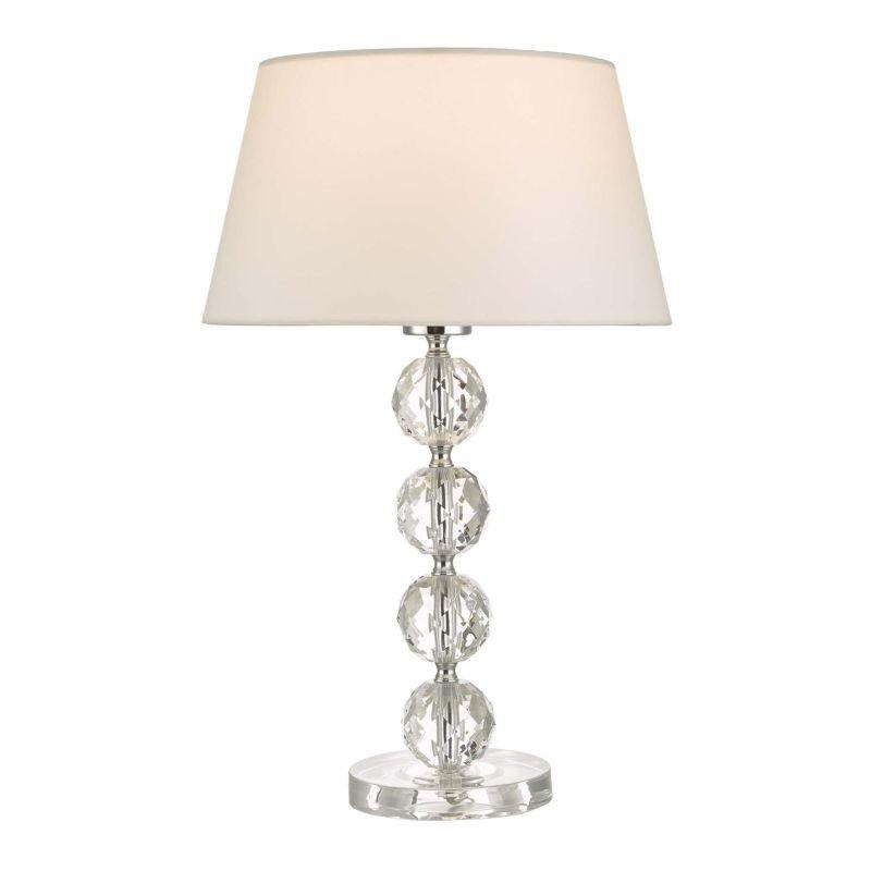 Dar-ALE4208 - Aletta - White Shade with Crystal Acrylic Table Lamp