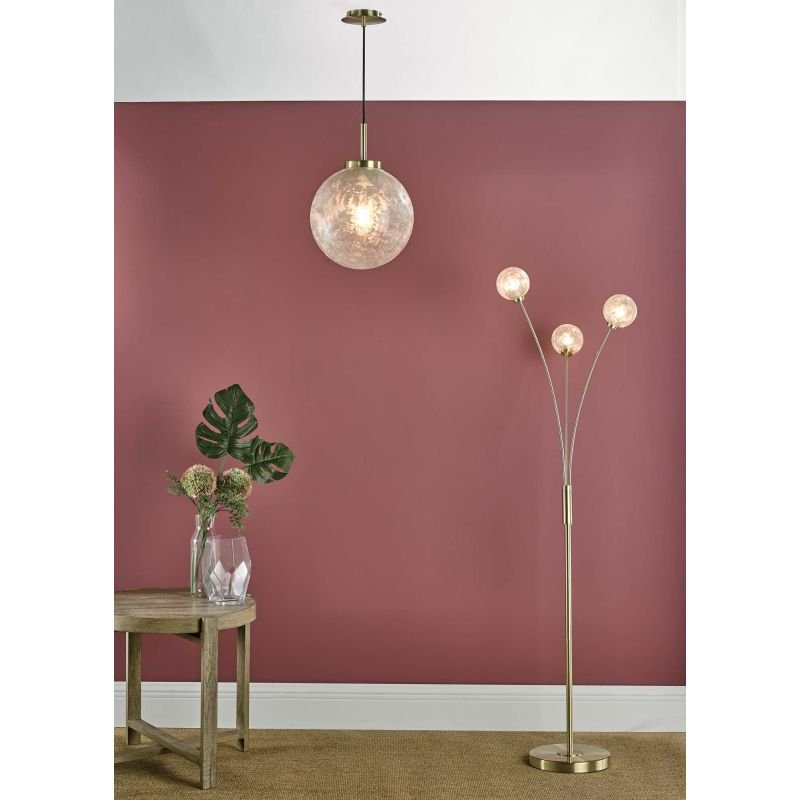 Dar-AVA4941 - Avari - Decorative Glass Globe with Satin Brass 3 Light Floor Lamp