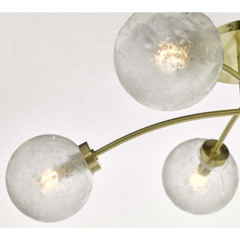 Dar-AVA6441 - Avari - Decorative Glass Globe with Satin Brass 6 Light Semi-Flush
