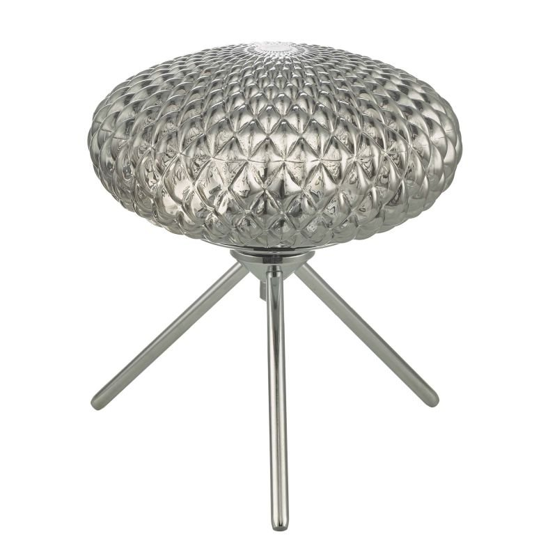 Dar-BIB4110 - Bibiana - Decorative Smoky Glass with Chrome Small Table Lamp