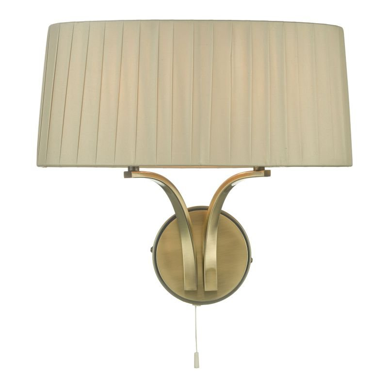 Dar-CRI0929 - Cristin - Taupe Ribbon Fabric with Antique Brass 2 Light Wall Lamp