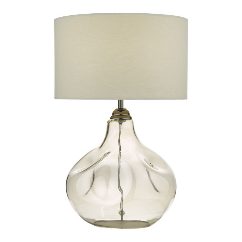 Dar-ESA4210 - Esarosa - White Shade with Smoked Glass Table Lamp