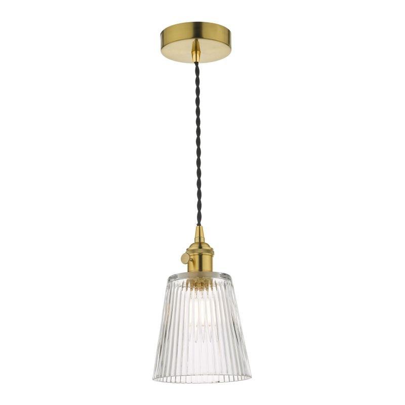 Dar-HAD0140-05 - Hadano - Ribbed Glass Shade with Gold Single Hanging Pendant