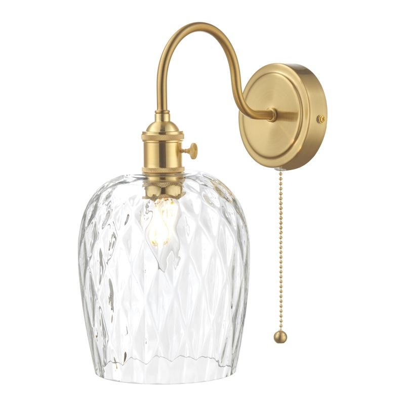 Dar-HAD0740-03 - Hadano - Dimpled Glass Shade with Gold Wall Lamp