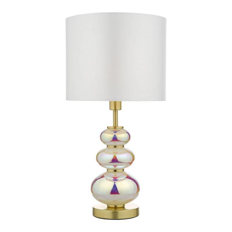Dar-KIA4255 - Kiandra - White Fabric Shade with Multi Coloured Table Lamp