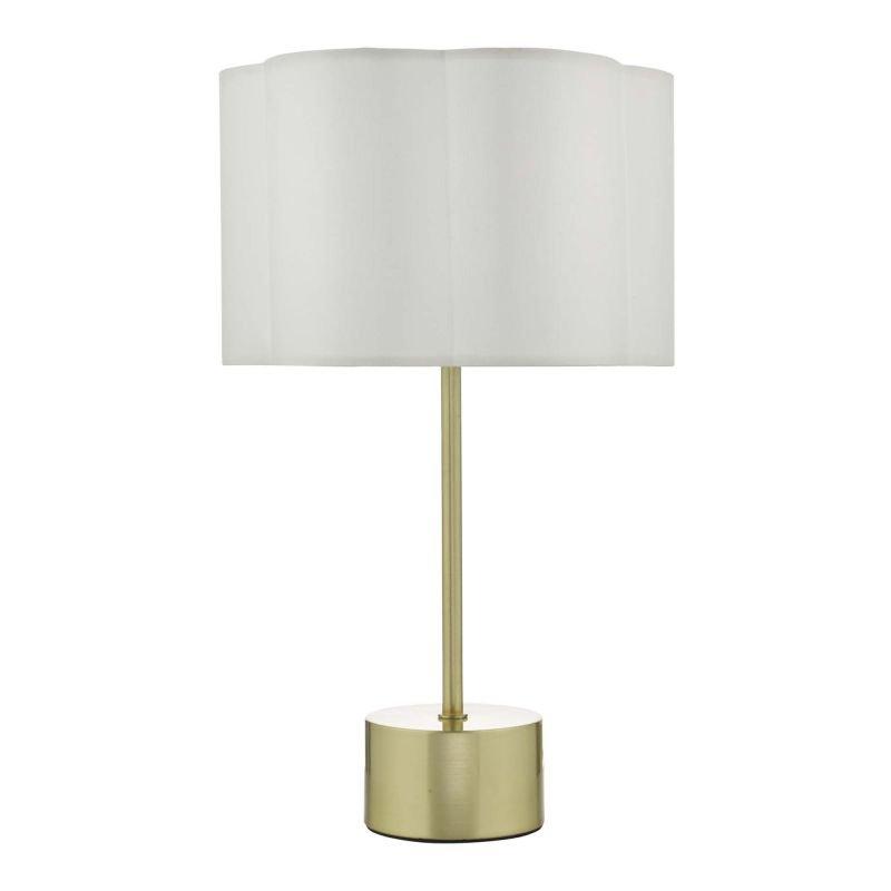 Dar-LIL4241 - Liliya - Ivory Fabric Shade with Satin Brass Table Lamp