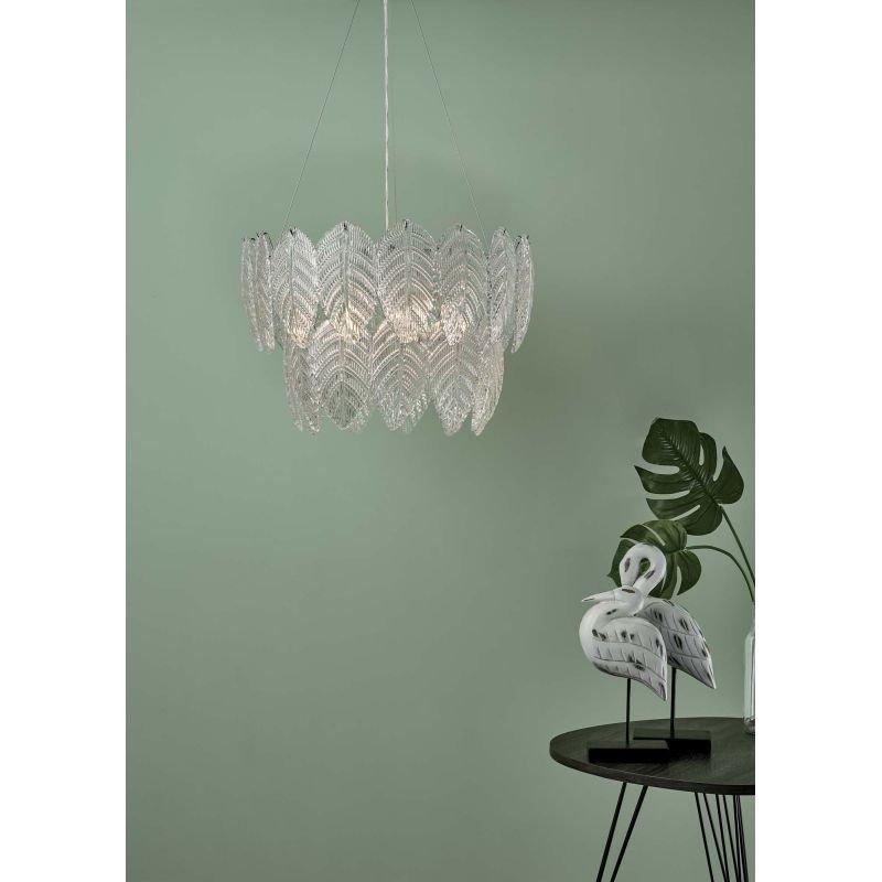 Dar-PHI0308 - Phillipa - Clear Glass Leaves & Polished Chrome 3 Light Pendant