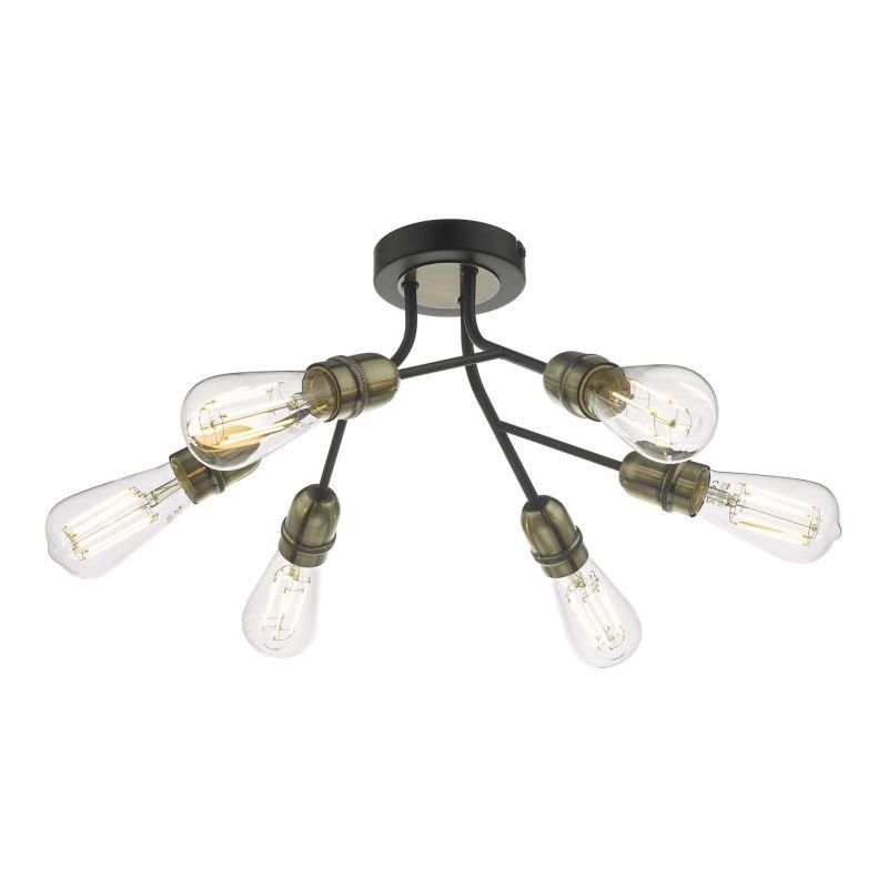 Dar-REM0654 - Remy - Black & Antique Brass 6 Light Ceiling Lamp