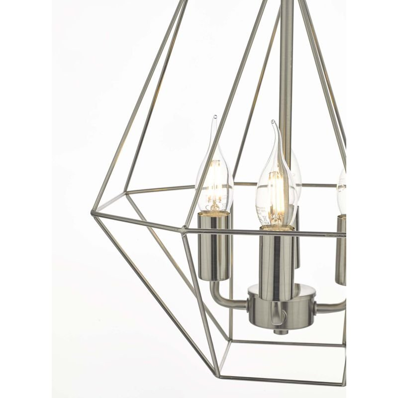 Dar-SIM0446 - Simbala - Satin Chrome Lantern Cage 4 Light Pendant