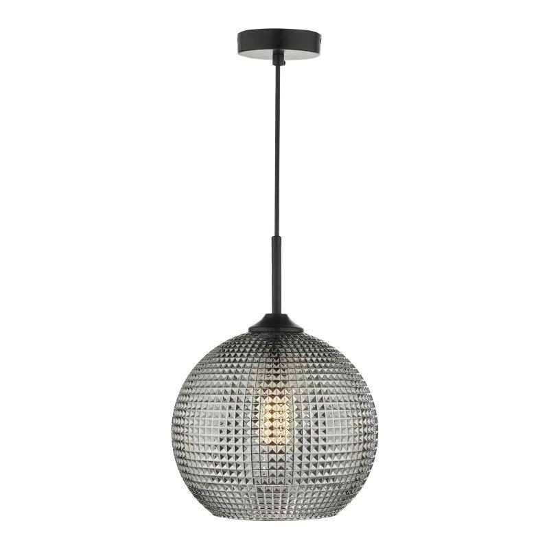 Dar-SOR0110 - Soren - Smoked Textured Glass & Black Single Pendant