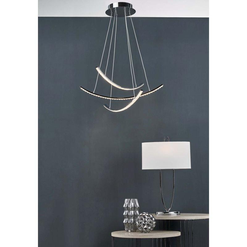 Dar-UTA4250 - Utara - Ivory Shade & Polished Chrome Table Lamp