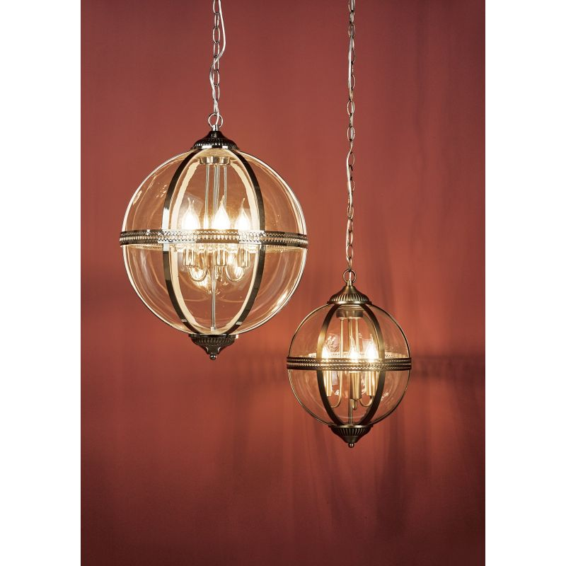 Dar-VAN0375 - Vanessa - Antique Brass & Clear 3 Light Lantern Pendant
