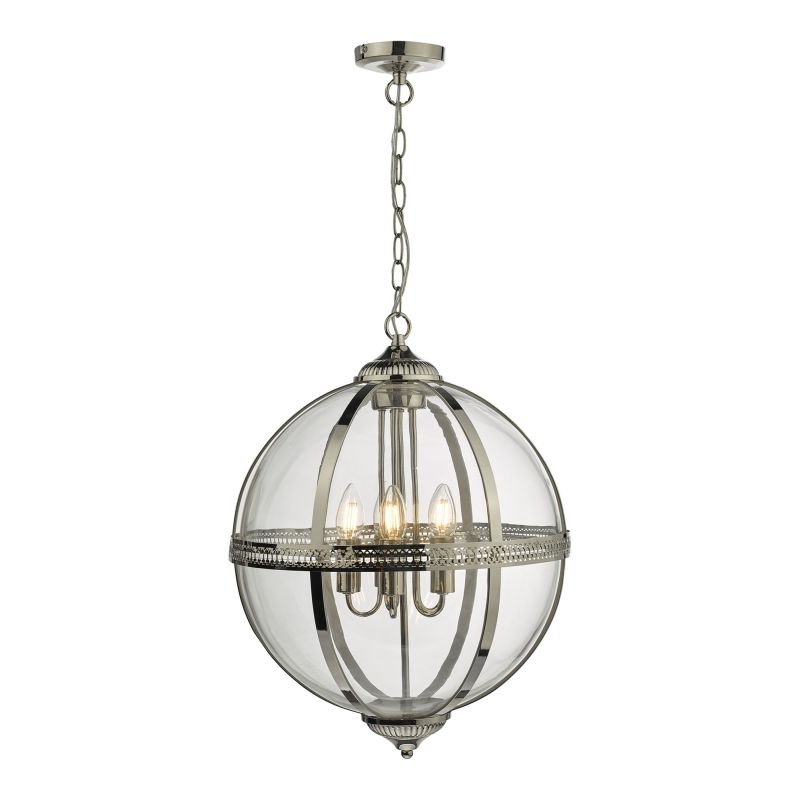 Dar-VAN0538 - Vanessa - Polished Nickel & Clear 5 Light Lantern Pendant