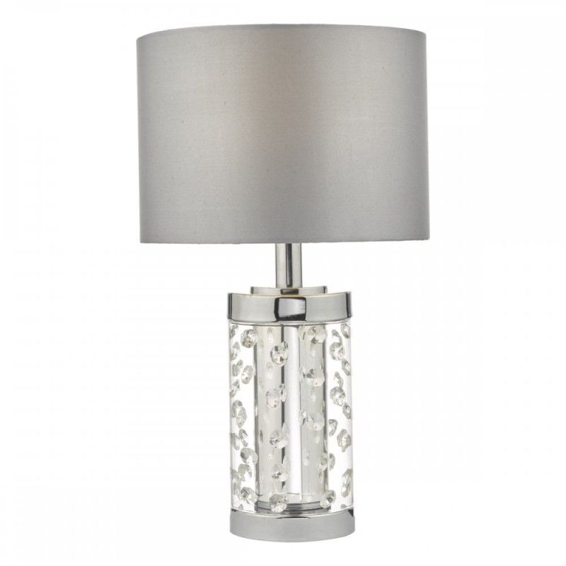 Wisebuys-YAL4108 - Yalena - Grey Shade with Glass & Crystal Table Lamp