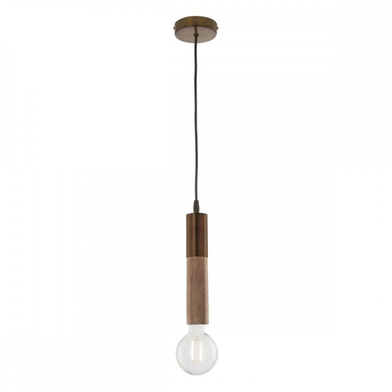 Dar-ZIV0135 - Ziva - Handmade Gold & Wood Single Hanging Pendant