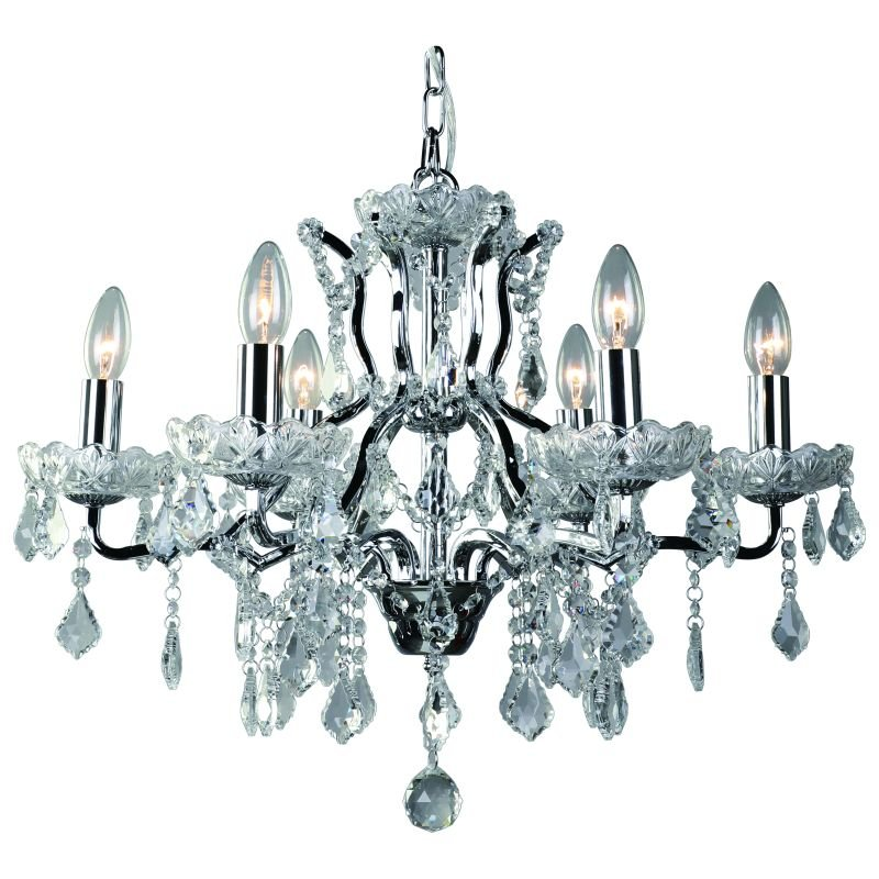 Cork-Lighting-CF9010/6CR - Toledo - Crystal with Chrome 6 Light Chandelier