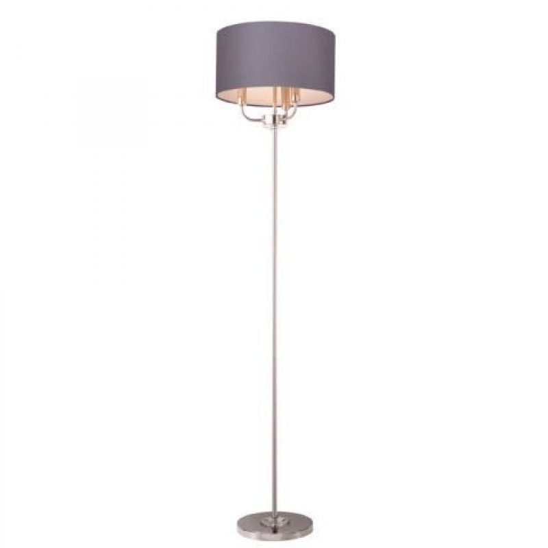 Cork-Lighting-FLSTYLO/3NK - Stylo - Grey Shade & Nickel with Crystal 3 Light Floor Lamp